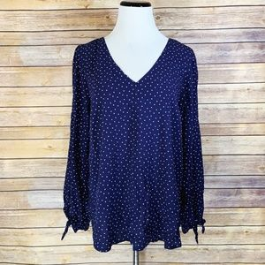 Anthropologie Maeve Blue Polka Dot Pernille Blouse
